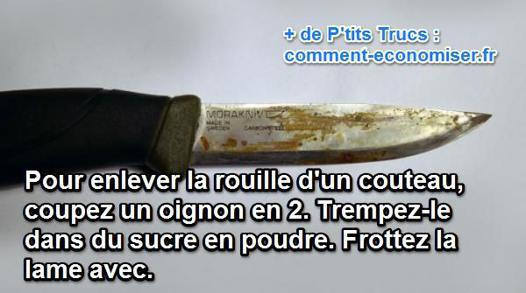 enlever rouille couteau inox